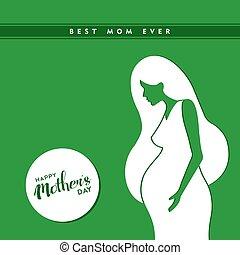 婦女, 怀孕, 母親, 插圖, 天, 愉快