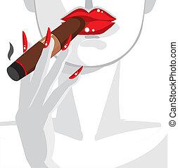 婦女, 性感, 抽煙雪茄, 紅色