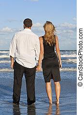 婦女, 扣留手的夫婦, 海灘, 人