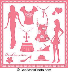 婦女, 時裝, 集合, 圖象