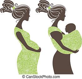 婦女, 母親, 吊索, 嬰孩, 婦女, silhouettes., 怀孕, 美麗