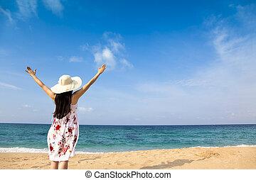 婦女, 海灘, 愉快