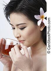 婦女, 熱的茶, 喝酒, 姜