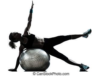 婦女, 球, 測驗, 健身, 行使