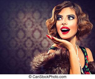 婦女, 相片, 稱呼, lady., portrait., retro, 葡萄酒, 驚奇