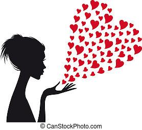 婦女, 矢量, 紅色, 心