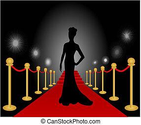 婦女, 矯柔造作, 矢量, 紅的地毯