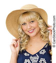 婦女, 秸桿, 年輕, 夏天, -, 假期, 帽子, 美麗