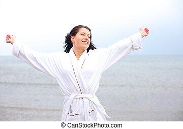 婦女, 空氣, 新鮮, 享用, 海灘, 涼爽
