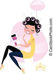 婦女, 美麗, /, 沙龍, 美容師
