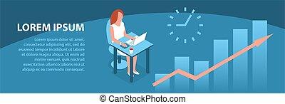 婦女, 膝上型, 現代, 工作, 辦公室。