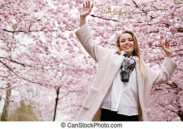 婦女, 花, 春天, 公園, 年輕, 愉快