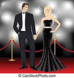 婦女, 著名, 無固定職業的攝影師, 夫婦, 雅致, 時裝, 豪華, 前面, 人, 紅的地毯