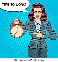 婦女, 藝術, work., 事務, 警報, 插圖, 矢量, 流行音樂, 藏品, 時間, clock.