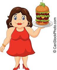 婦女, 超重, 卡通