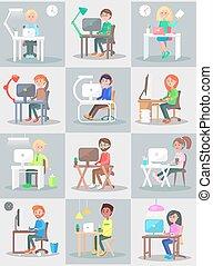 婦女, 辦公室, set., 工作, 電腦, 人