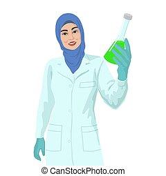 婦女, 阿拉伯, concept., liquid., 痘苗, 科學家, 樣品, 研究