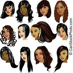 婦女, 黑發淺黑膚色女子, 臉