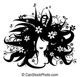婦女, 黑色半面畫像, 發型, 設計, 植物, 你