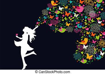 婦女, 黑色半面畫像, 鮮艷, 卡片, 愉快