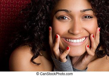 婦女, 黑色, 笑