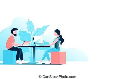 婦女, computer., 人, 工作, 年輕, 辦公室