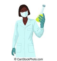 婦女, concept., liquid., 痘苗, african, 樣品, 科學家, 研究