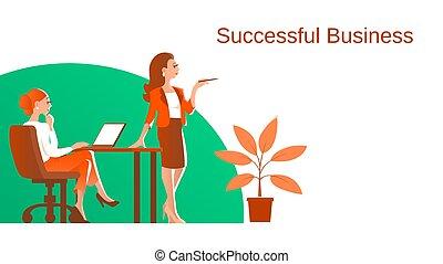 婦女, process., 插圖, 工作, 事務