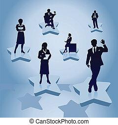 婦女, work., 插圖, 後面, 矢量, 商人, 人