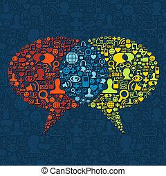 媒介, 演說, 相互作用, 氣泡, 社會