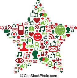 媒介, 社會, 星, 聖誕節, 圖象