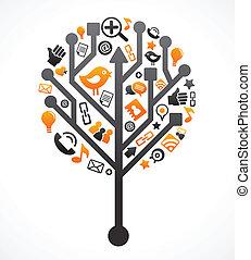 媒介, 社會, 樹, 网絡, 圖象