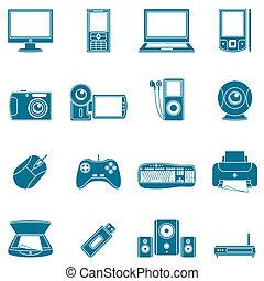 媒介, 電腦, icons.