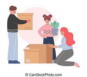 媽媽, 新的爸爸, 他們, 調遷, 箱子, 包裝, 插圖, 女儿, 家庭, 矢量, 家, 房間