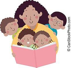 媽媽, 書, african, 講故事, 孩子, 老師