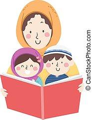 媽媽, 穆斯林, 書, 閱讀, 講故事, 孩子