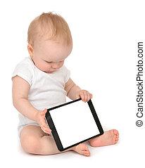 嬰儿, mobi, 片劑, 坐, 數字, 孩子, 鍵入, 嬰儿學步的小孩