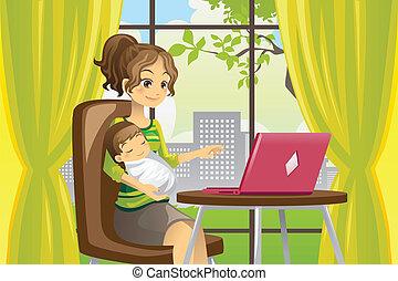 嬰孩, 使用便攜式計算机, 母親