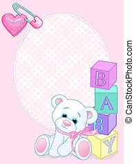 嬰孩, 卡片, 到達, 粉紅色