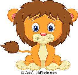 嬰孩, 卡通, 獅子, 坐