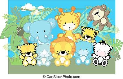 嬰孩, 漂亮, 動物, 旅行隊