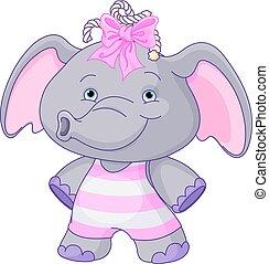 嬰孩, 漂亮, 大象