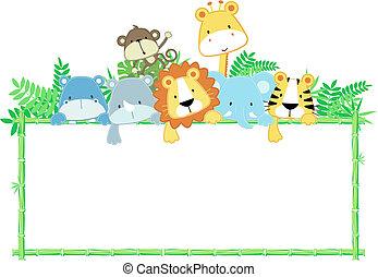 嬰孩, 漂亮, 框架, 動物, 叢林