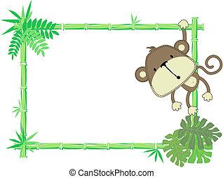 嬰孩, 漂亮, 框架, 猴子