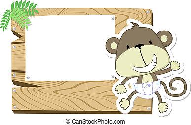 嬰孩, 漂亮, signboard, 猴子
