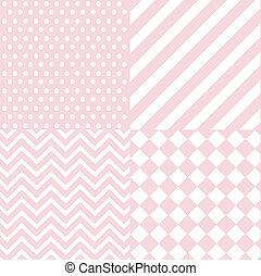 嬰孩, 粉紅色, 女孩, seamless, 圖案
