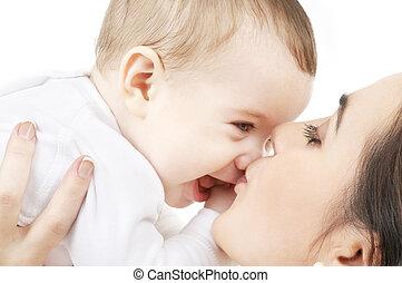 嬰孩, 親吻, 她, 母親