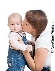 嬰孩, 親吻, 愉快, 她, 母親