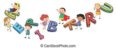 字母表, 孩子, 玩