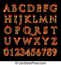 字母表, 燃燒, 數字